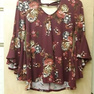 Red Maroon Floral Boho Top M